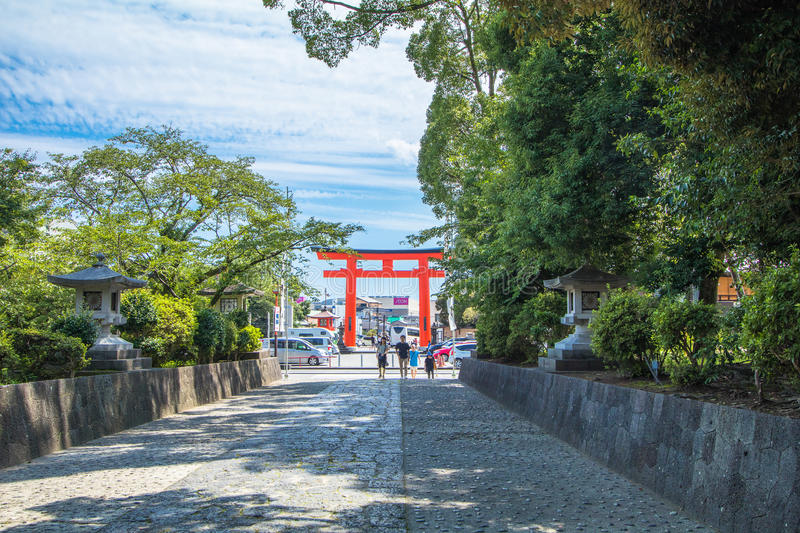 Shizuoka Prefecture ,Japan - December 18, 2016:Fujisan Sengen Sh. Rine was one of the largest and grandest shrines in the city of Fujinomiya stock photography