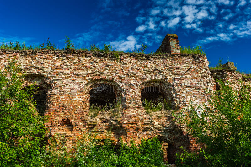 Shlisselburg. Rests of the building of red brick in the town of Shlisselburg stock photography