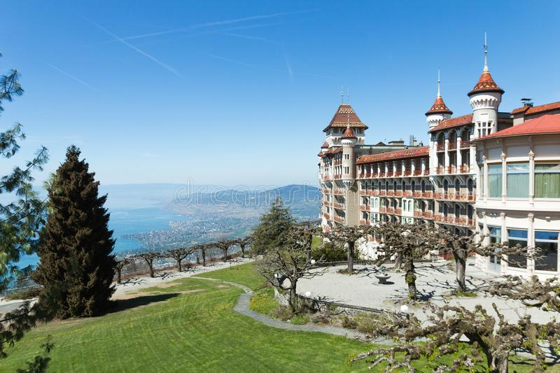 SHMS Swiss Hotel Management School in Switzerland Caux-Montreux. March 2019. Beautiful picture of the SHMS Swiss Hotel Management School in Switzerland Caux royalty free stock image