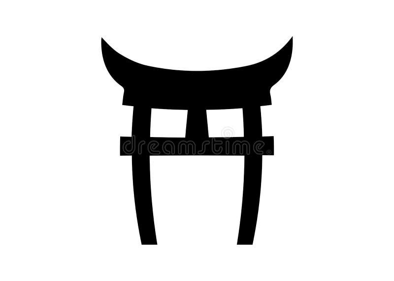 Shninto symbol, Japonia brama Torii bramy ikona odizolowywaj?ca na bia?ym tle ilustracja wektor