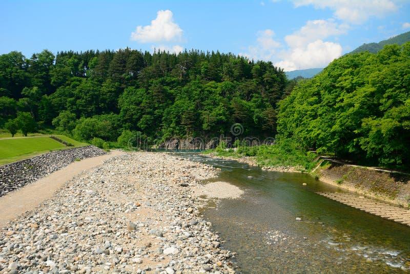 Sho River, Shirakawa-va, il Giappone fotografia stock