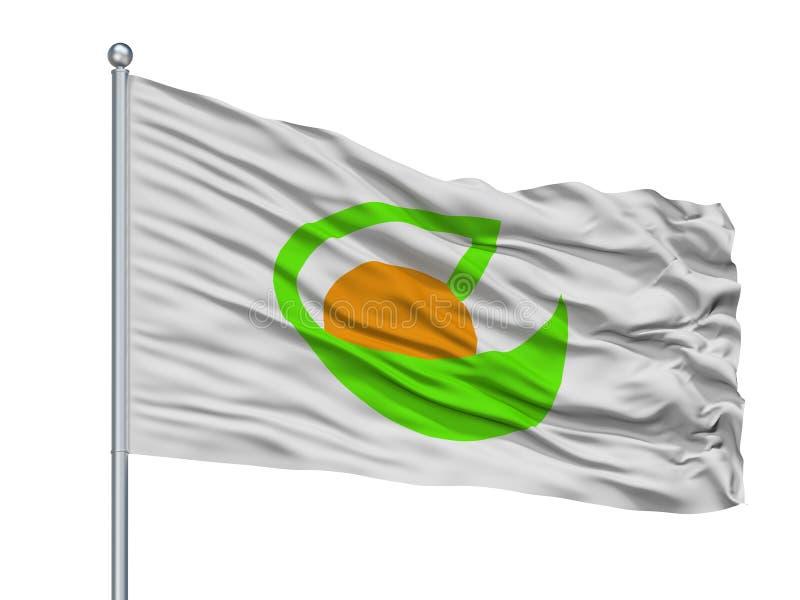 Shobara City Flag On Flagpole, Japan, Hiroshima Prefecture, Isolated On White Background. Shobara City Flag On Flagpole, Country Japan, Hiroshima Prefecture stock illustration