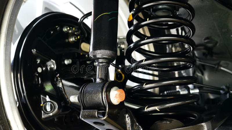 Shock Absorber. Close Up of Car Shock Absorber and Spring stock photo