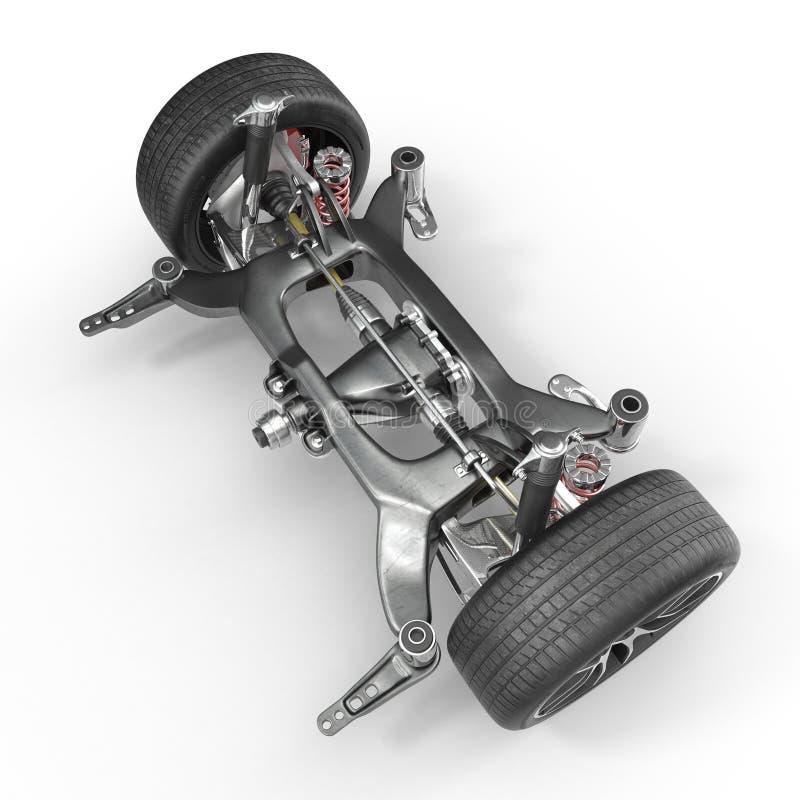 Shock Absorber and car suspension on white. 3D illustration stock illustration