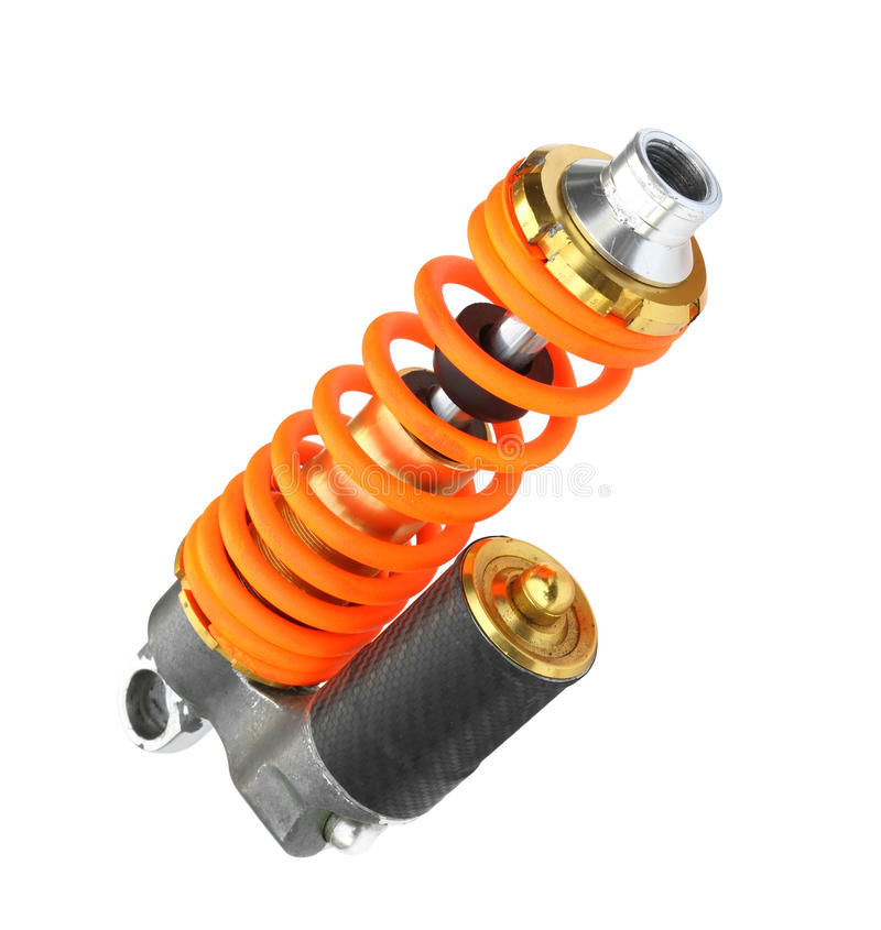 Shock absorber. Colorful shock absorber isolated on white background stock photo