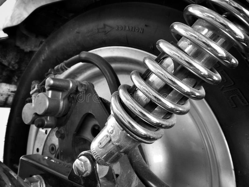 Shock absorber motorcycle. Close up of shock absorber motorcycle stock photography