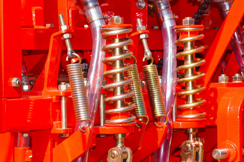 Shock absorber and spring. Machine royalty free stock images