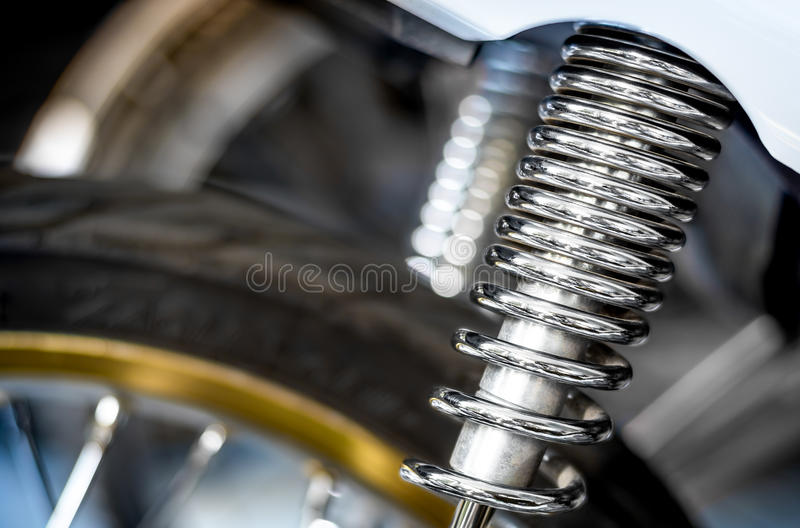 Shock Absorber. The Spring of Shock Absorber for Motorcycle stock photography