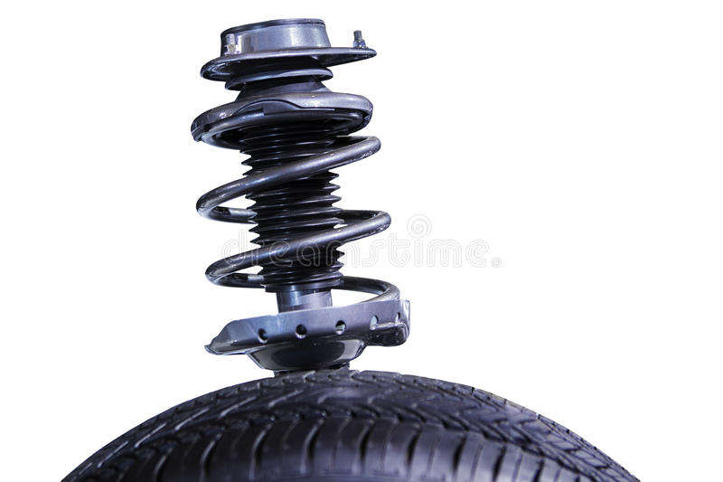 Shock absorber on white. Modern shock absorber, isolated over white background stock image