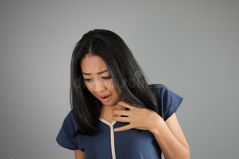 Shock Asian woman. royalty free stock photography