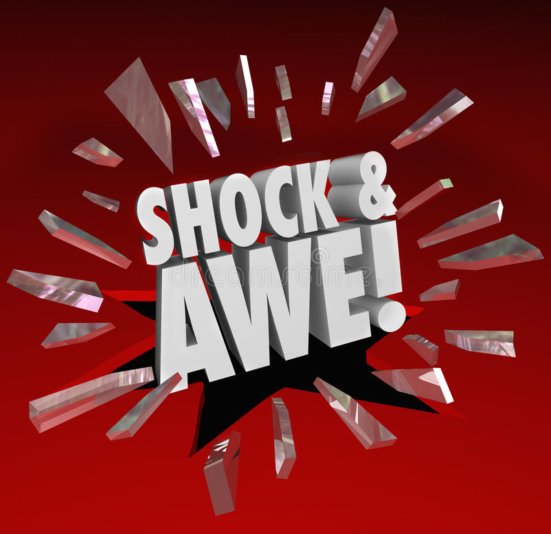 Shock and Awe Words Overwhelming Show of Force Surprise. The words Shock and Awe breaking through glass to illustrate an overwhelming show of force or power as a stock illustration