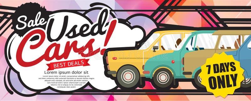 Shock Price Used Cars Sale 1500x600 pixel Banner. vector illustration