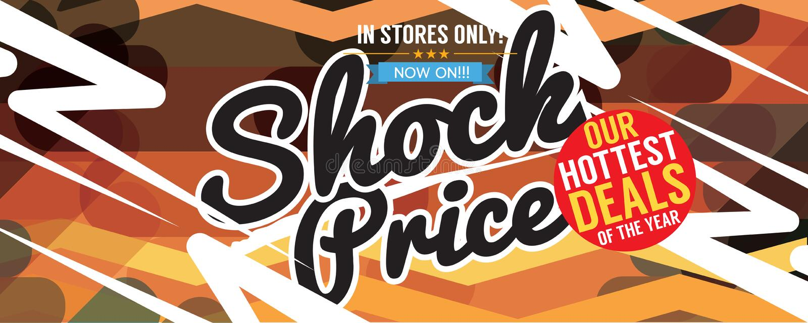 Shock Sale Multicolored Promotional 8310x3326 px Wide Banner stock illustration