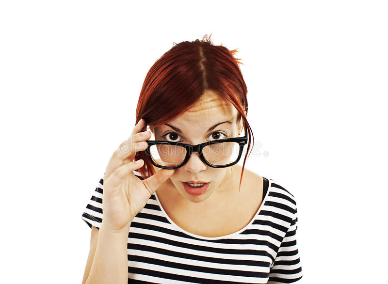 Shock woman in glasses stock images