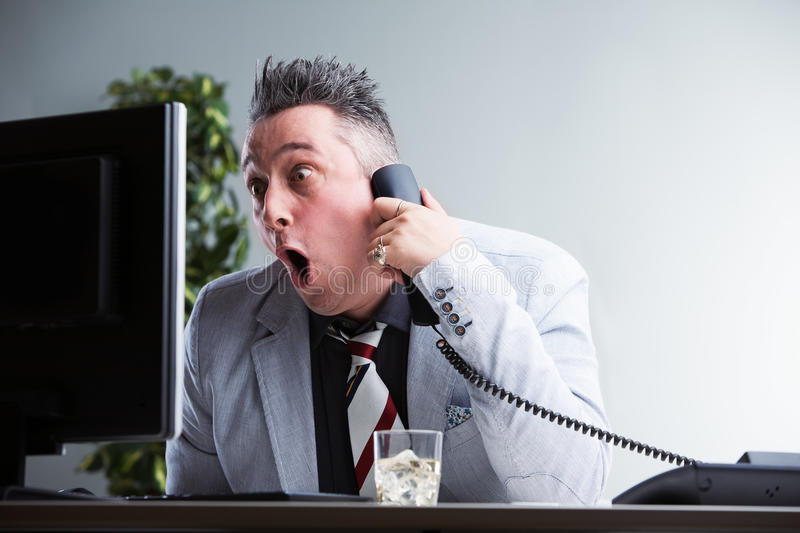 Shock of a worker caught unaware stock photos