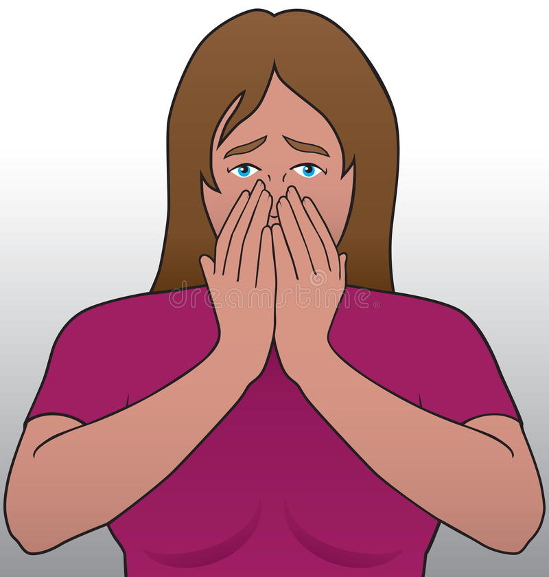 Shock. Young woman reacting to some bad news royalty free illustration