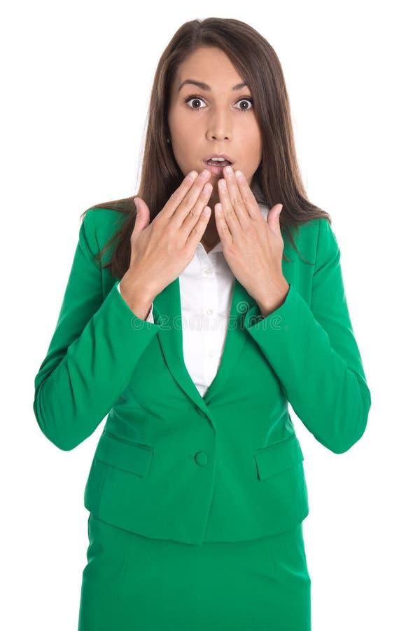 Shocked изолировал бизнес-леди в зеленом платье стоковое фото rf