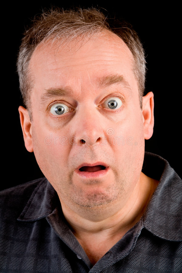 Shocked. The face of a man being afraid or shocked of something royalty free stock images