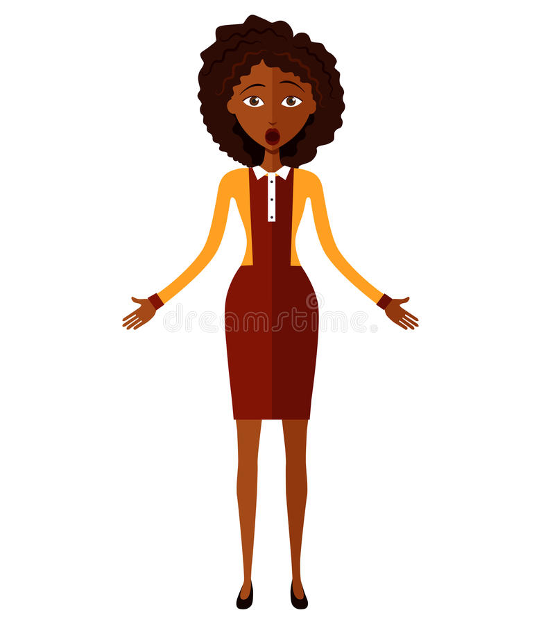Shocked African young woman isolated on white background. Vector. royalty free stock images