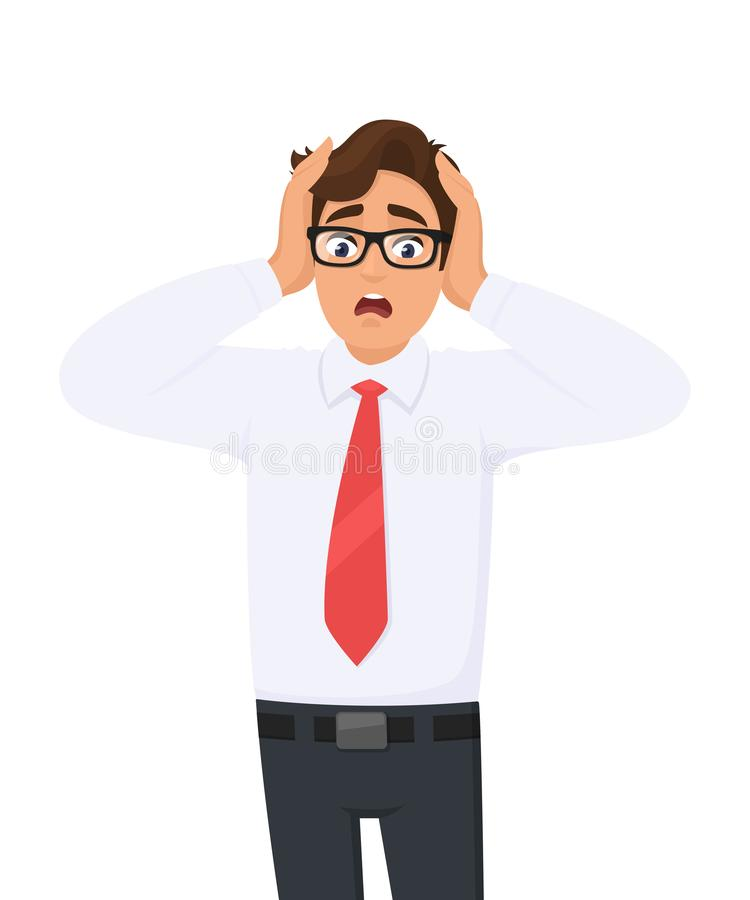Free Shocked/amazed Young Business Man Holding Hands On Head And Keeping Mouth Open. Headache Pain Or Stress. .Human Emotions, Facial. Royalty Free Stock Photography - 147270777