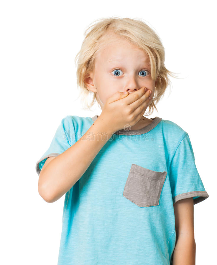 Shocked amedrontou o menino foto de stock