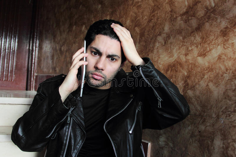 Shocked arab young businessman in jacket royalty free stock images