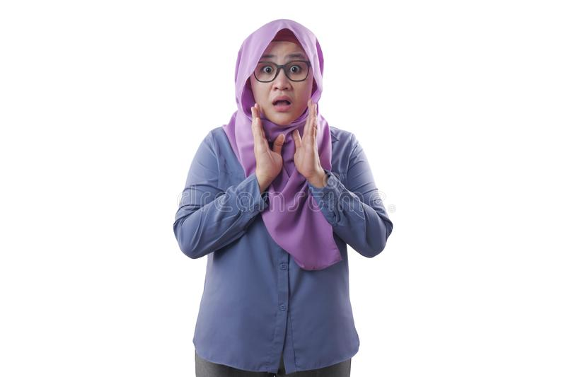 Shocked Asian Muslim Woman With Mouth Opened royalty free stock photos