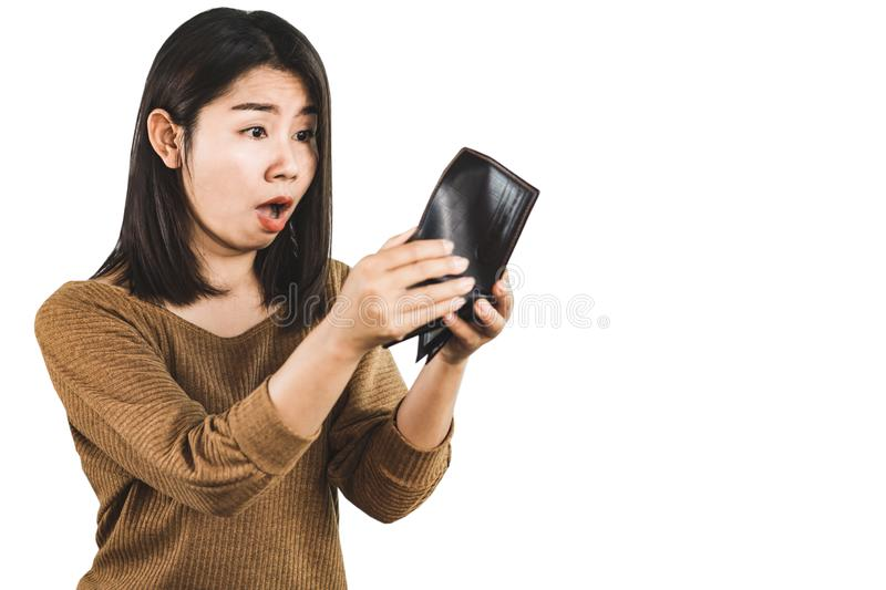 Shocked Asian woman hand open empty wallet no money for debt stock photography