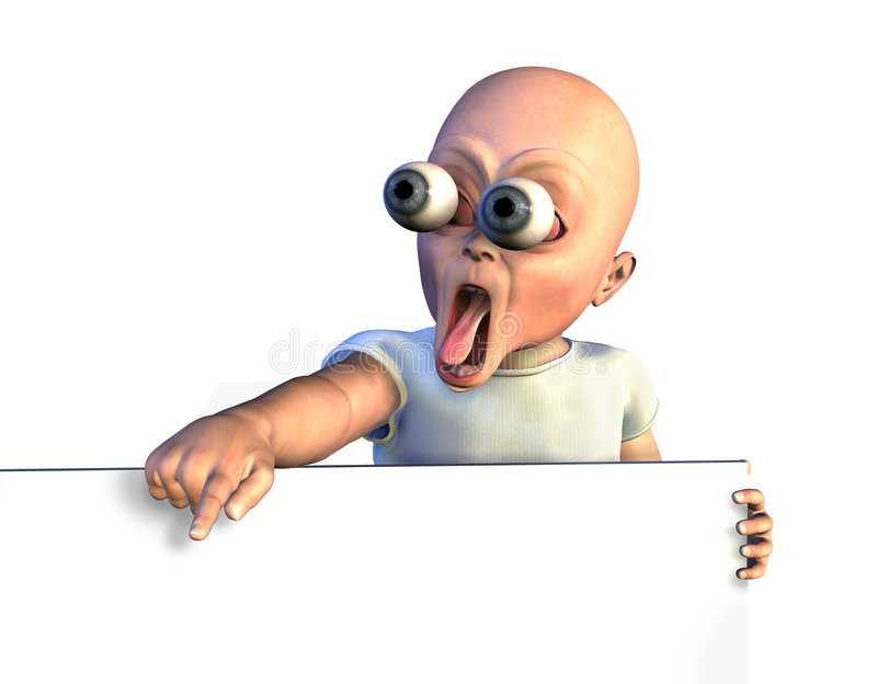 Download Shocked Baby With Sign Edge - With Clipping Path Stock Illustration - Image: 514086