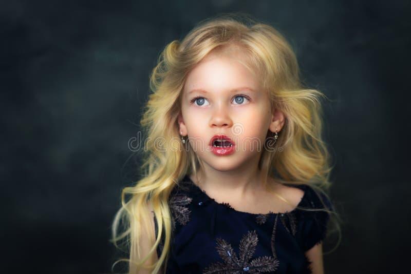 Shocked beautiful little girl royalty free stock photos