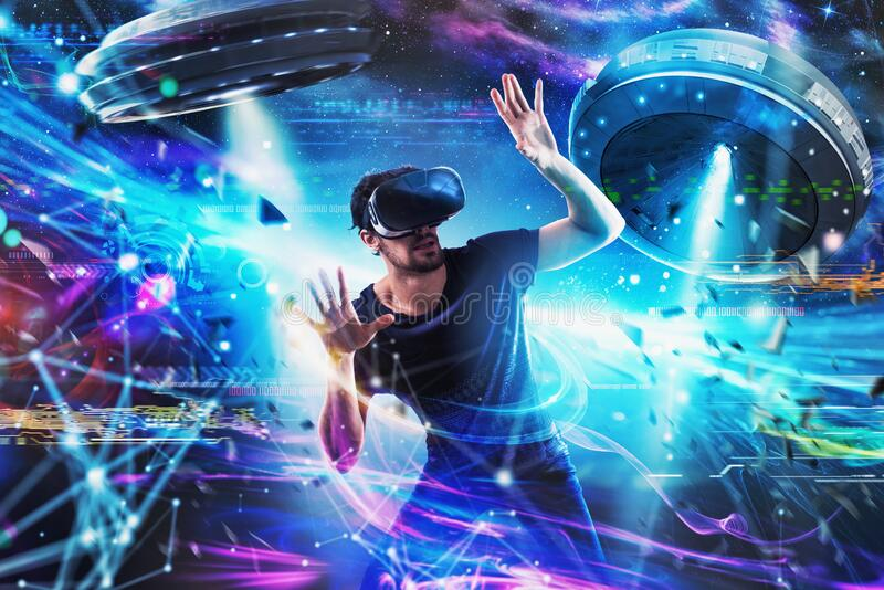 Shocked boy plays with online ufo videogames. Concept of technology and entertainment stock photo