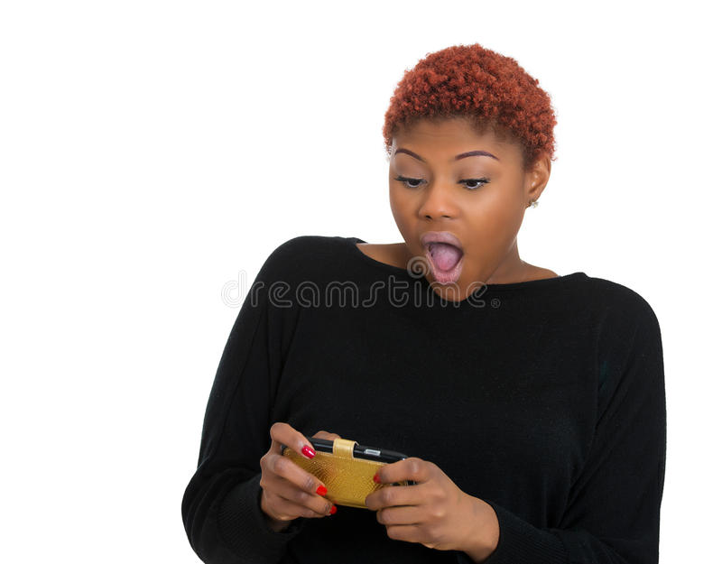 Shocked business woman, texting on smartphone seeing bad text message stock photos