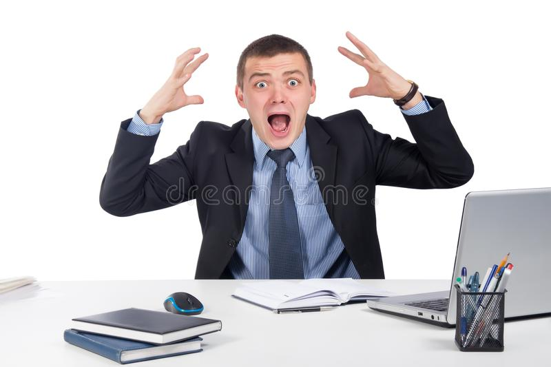 Shocked businessman in panic stock images