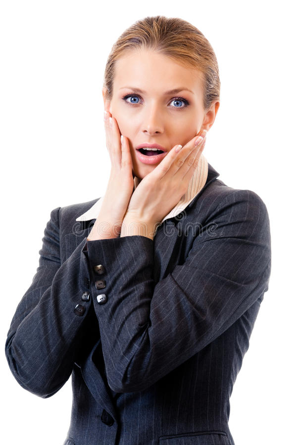 Download Shocked Businesswoman, On White Stock Photo - Image: 20753990