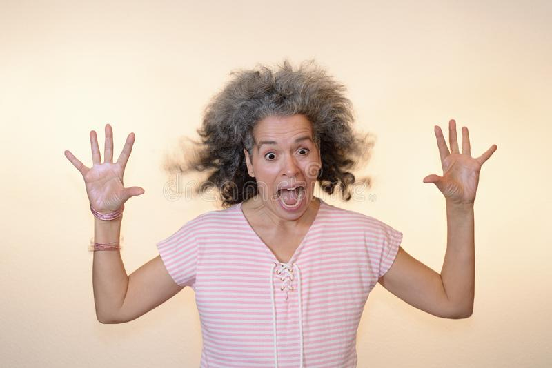 Shocked Crazy Screaming mature woman Hands up. Shocked screaming woman Open eyes, Hands up, Flying hair. Woman over fifty with graying hair. Plain background royalty free stock photo