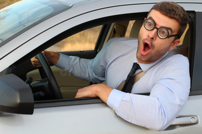 Shocked driver with really bad vision stock photo