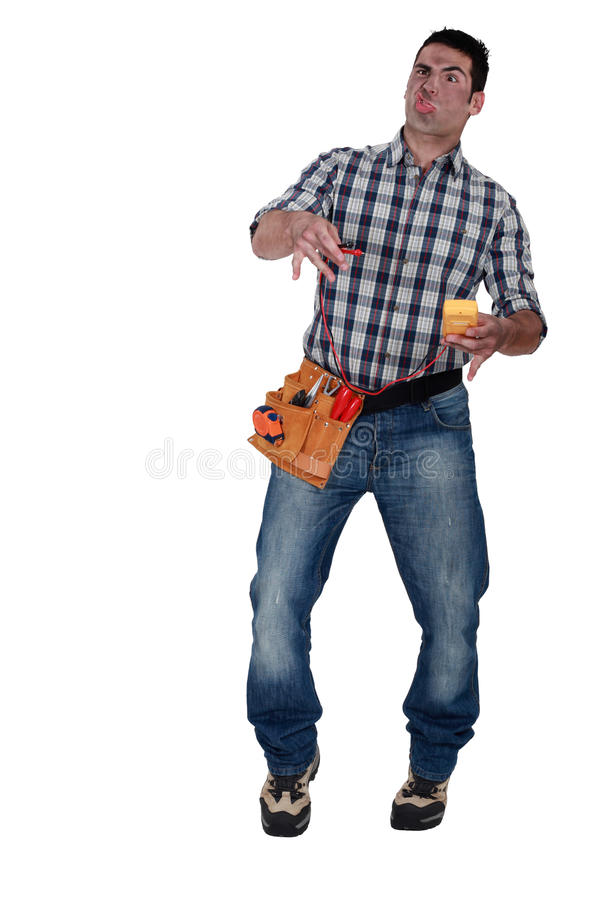 Shocked electrician royalty free stock photo