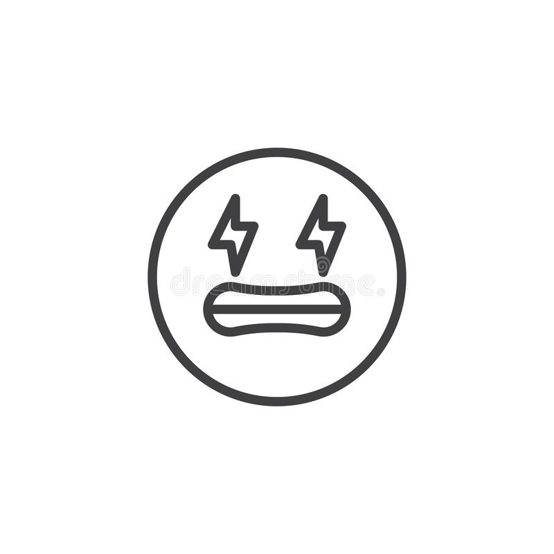 Shocked face emoji line icon. Linear style sign for mobile concept and web design. Frightened emoticon face outline vector icon. Symbol, logo illustration stock illustration