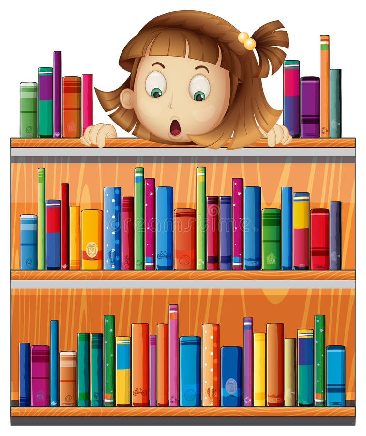 Download A Shocked Face Of A Girl At The Back Of A Wooden Shelves With Bo Stock Vector - Image: 32732724