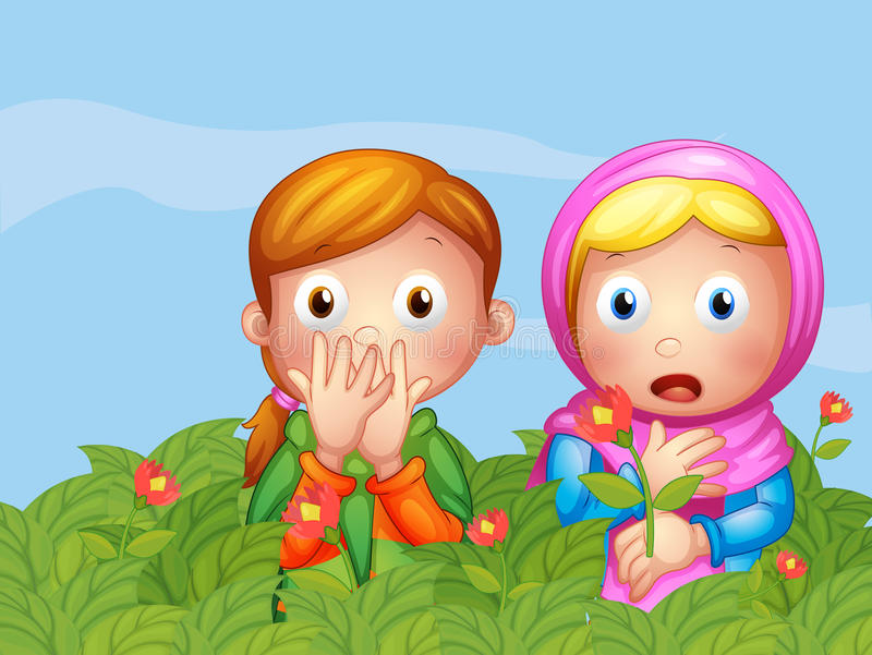 Download Shocked Faces Of Two Ladies In The Garden Stock Vector - Image: 33073493