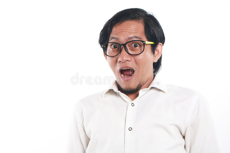 Shocked Funny Young Asian Businessman stock photography