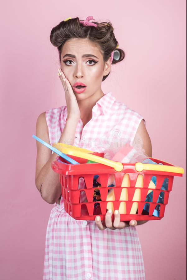 Shocked girl enjoying online shopping. vintage housewife woman ready to pay in supermarket. savings on purchases. retro stock images
