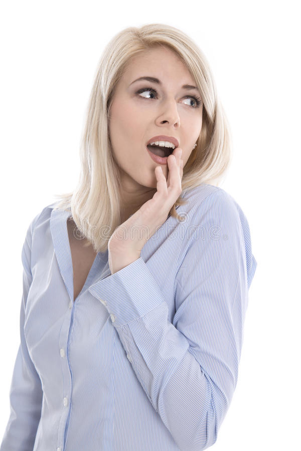 Shocked isolated young business woman looking surprised sideways royalty free stock photo