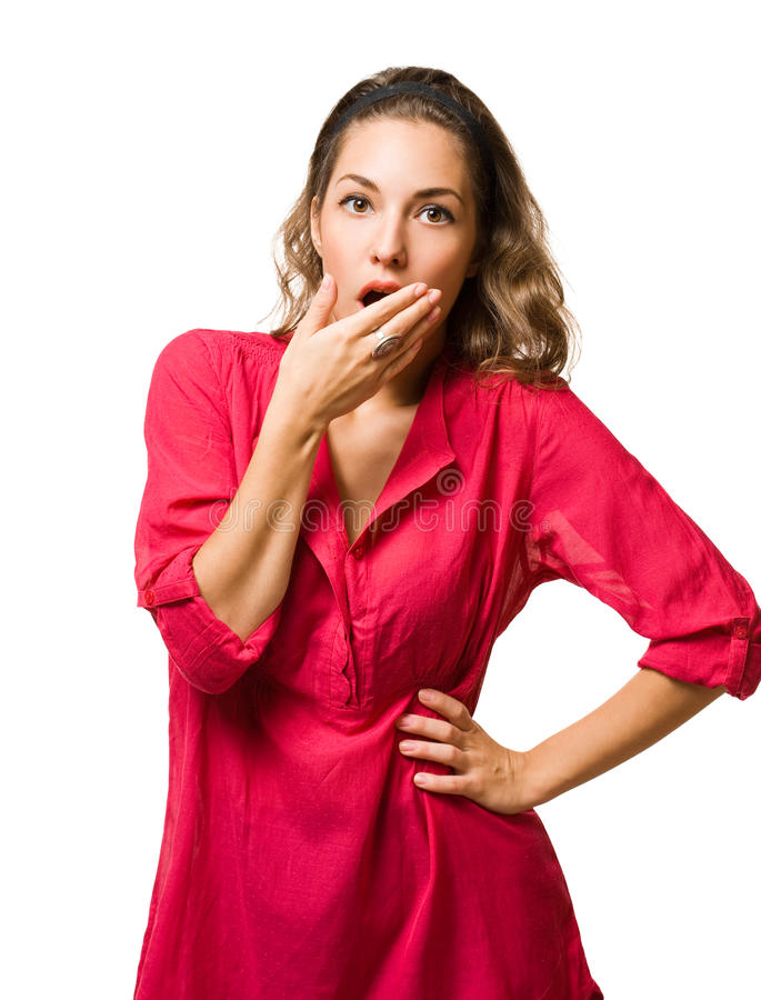Download Shocked Looking Pretty Young Woman. Stock Image - Image: 27655571