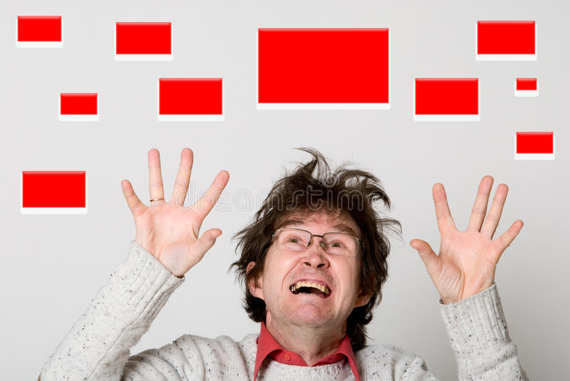 Shocked Man Choosing Red Buttons Stock Images