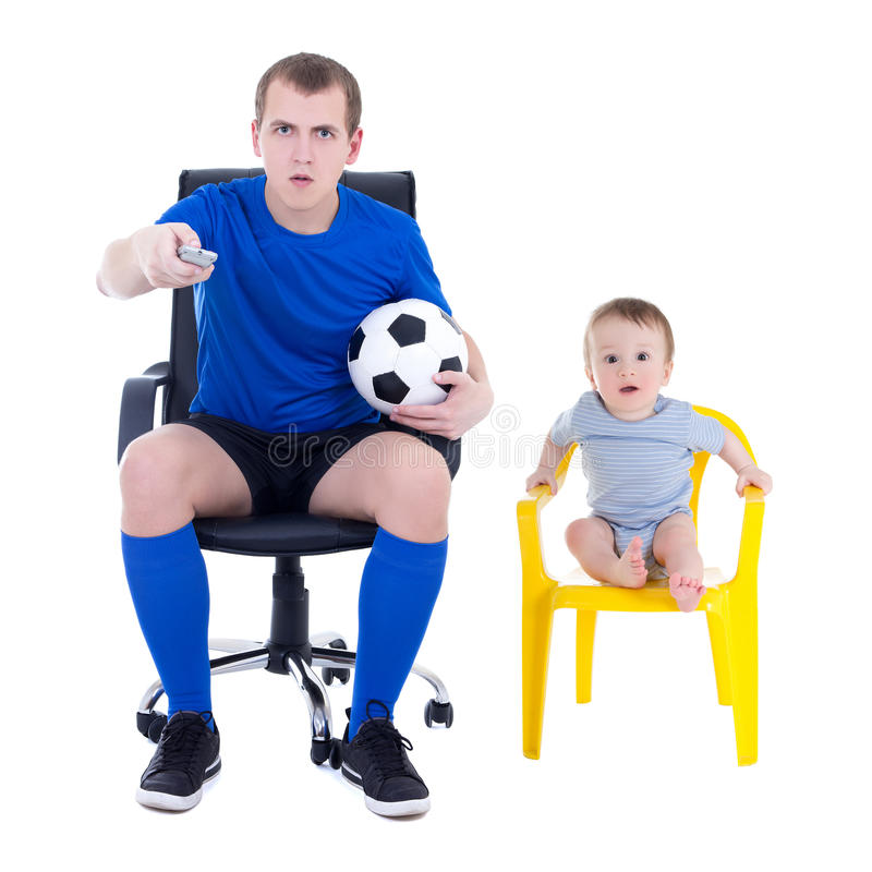 Shocked man in uniform and little boy watching soccer game isolated on white. Shocked men in uniform and little boy watching soccer game isolated on white stock image