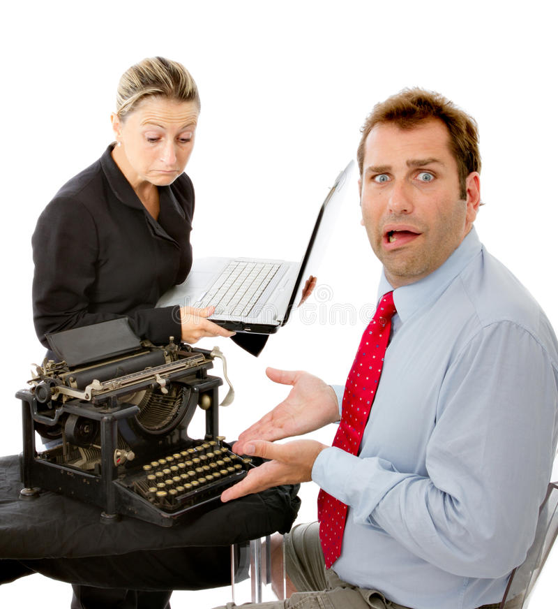 Download Shocked Manager With Obsolete Equipment Stock Image - Image: 26685005