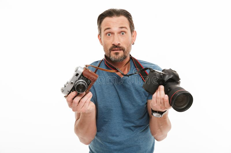 Shocked mature man photographer royalty free stock photo