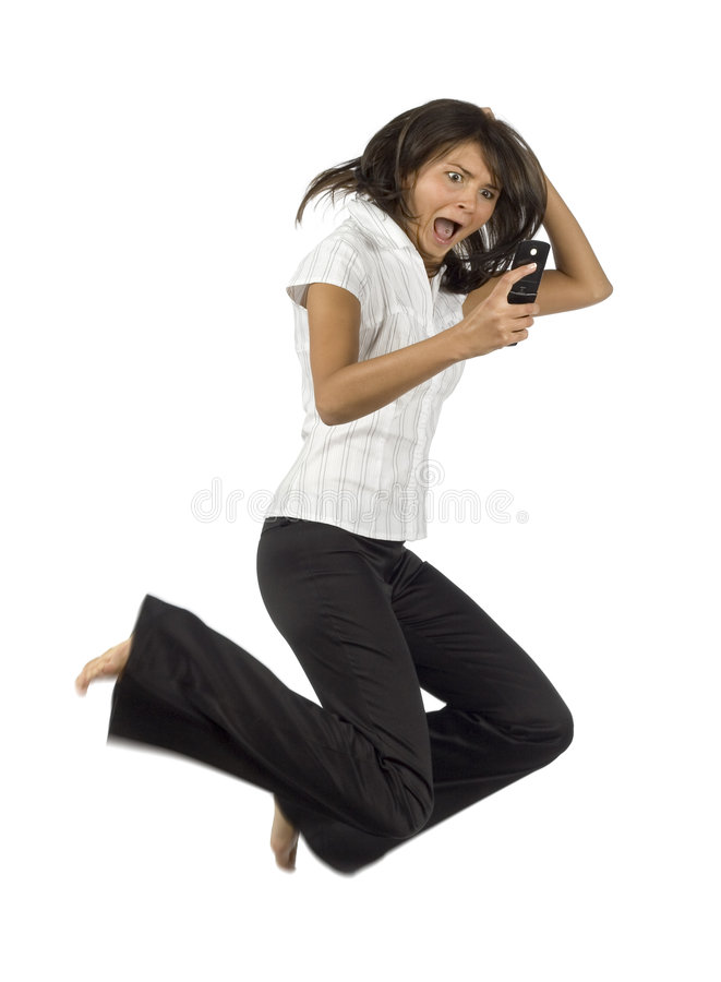 Download Shocked By Message Businesswoman Stock Photo - Image: 1169586