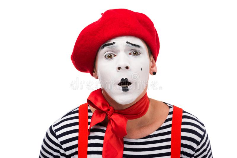shocked mime with red bow stock photo
